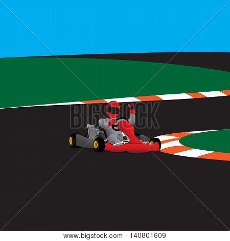 Vector kart rasing winner on the road