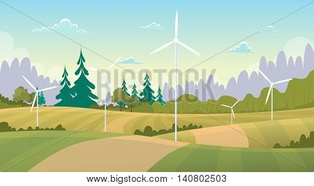 Summer View Landscape With Wind Turbine Alternative Energy Resource Flat Vector Illustration