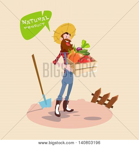Farmer Hold Box With Vegetables Natural Farming Logo Concept Flat Vector Illustration