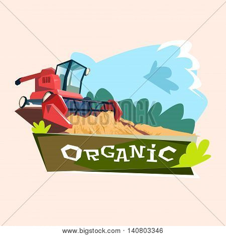 Combine Harvesting Wheat Crop In Field Organic Farming Logo Flat Vector Illustration