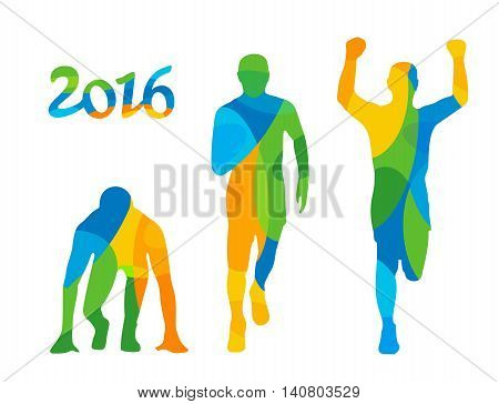 Running step. Runner from start to finish. Front view. Abstract colorful vector illustration. For poster label banner web. Isolated on white background