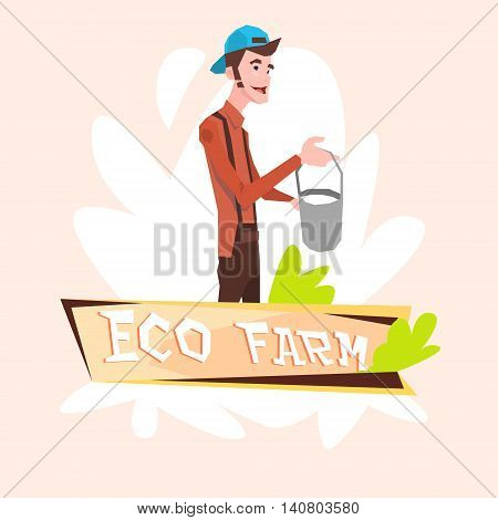 Milkman Farmer Hold Milk Pail Eco Farming Logo Concept Flat Vector Illustration