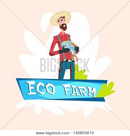 Farmer Fishman Hold Fish Eco Farming Logo Concept Flat Vector Illustration