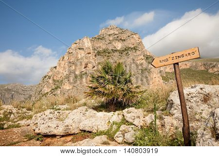 A sign indicating the Sicilian Zingaro Natural Reserve in the San Vito Lo Capo area of northern Sicily Italy