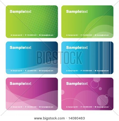 Set of colorful business cards