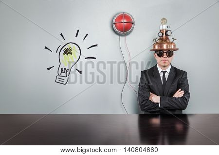Lightbulb text text with vintage businessman and alert light