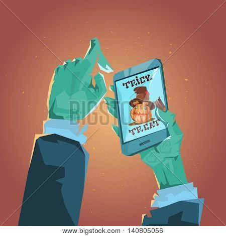 Zombie Hand Hold Cell Smart Phone Halloween Pumpkin Greeting Card Banner Flat Vector Illustration