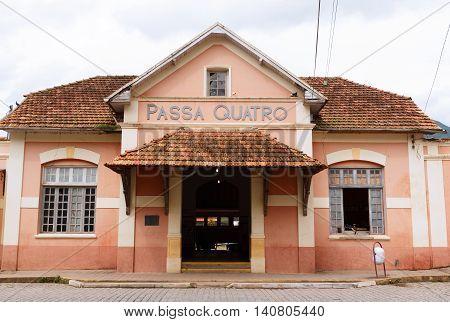 PASSA-QUATRO MINAS GERAIS/BRAZIL- March 21: Train station in rainy day on March 21 2015 in Passa-Quatro Brazil. From here starts sightseeing tour named Trem Serra da Mantiqueira