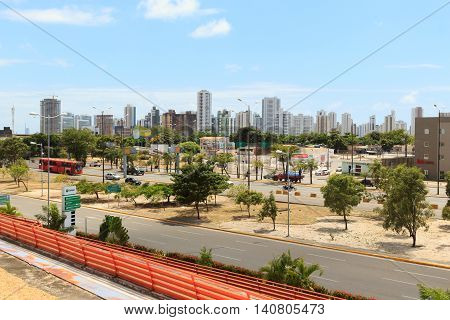 RECIFE PERNAMBUCO/BRAZIL- October 28: Panoramic view of buildings hotels near airport of Recife on October 28 2015 in Recife Brazil