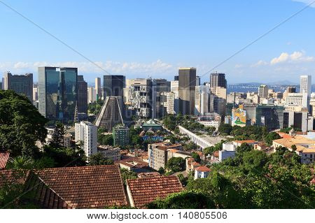 RIO DE JANEIRO - March 21: Downtown and Lapa district with Petrobras building and Lapa Aqueduct on March 21 2016 in Rio de Janeiro