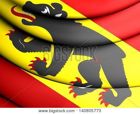 Flag Of Bern Canton, Switzerland. 3D Illustration.