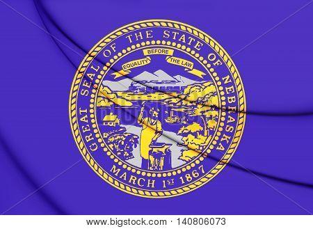 Flag of Nebraska USA. 3D Illustration. Close Up.