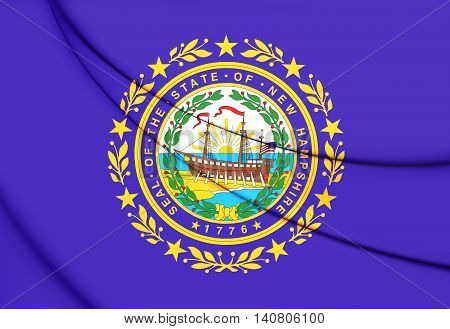 Flag Of New Hampshire, Usa. 3D Illustration.