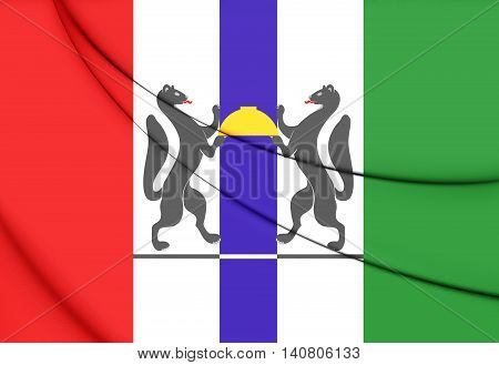Flag Of Novosibirsk Oblast, Russia. 3D Illustration.