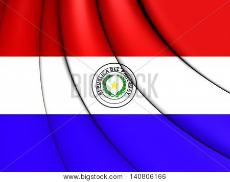 Flag of Paraguay. 3D Illustration. Close Up.