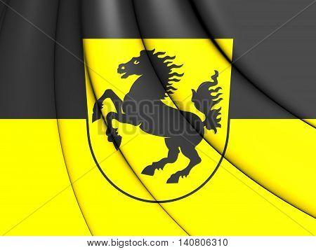 Flag of Stuttgart Germany. 3D Illustration. Close Up.