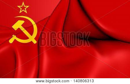 Flag Of The Soviet Union (1923-1955). 3D Illustration.