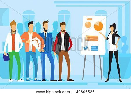Casual Business People Group Presentation Flip Chart Finance, Businesspeople Team Training Conference Meeting Flat Vector Illustration