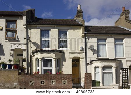 LONDON, UNITED KINGDOM - SEPTEMBER 12 2015: Traditional British houses facade in the suburbs of Woolwich London
