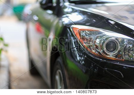 modern automobile headlight. close-up view. auto for background