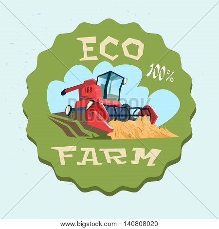 Combine Harvesting Wheat Crop In Field Eco Farm Logo Flat Vector Illustration