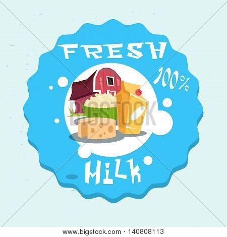 Milk Dairy Products Eco Fresh Farm Logo Flat Vector Illustration
