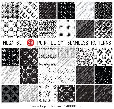 Geometric memphis seamless patterns in set for fashion and wallpaper. Universal black and white decorative background in pointillism style