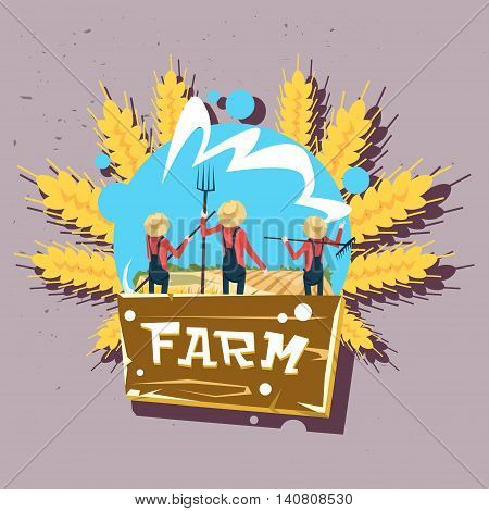 Farmer Group Wheat Harvest Fresh Eco Farm Logo Flat Vector Illustration