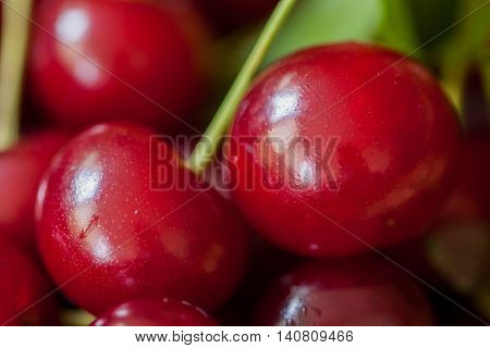 Cherries closeup , significant content of iron and other trace elements, cherry fruits are used as a remedy for anemia