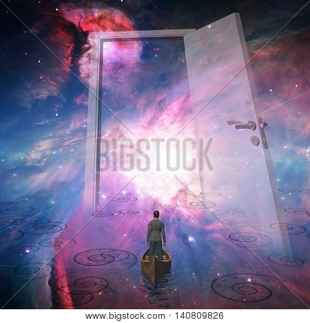 Man enters large doorway in space 3D Render Elements of this image furnished by NASA