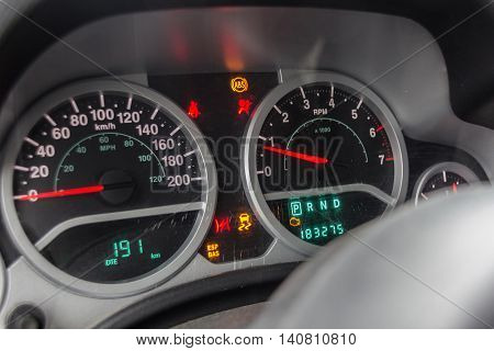 car dashboard , car diagnostics, car speedometer