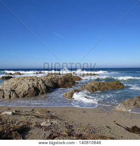 This is an image of the coastline at Asilomar State Preserve in Pacific Grove, California, U.S.A..