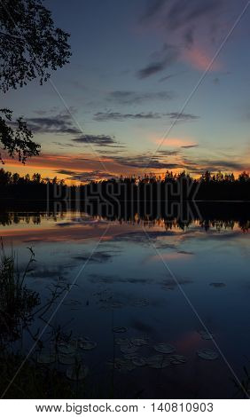 sunset on Vetrenno lake, the Karelian isthmus, Leningrad oblast, Russia