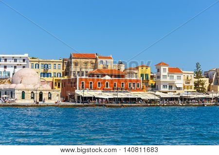 Chania, Crete - 23 Maj, 2016: View Of The Old Harbor Of Chania On Crete, Greece. Chania Is The Secon