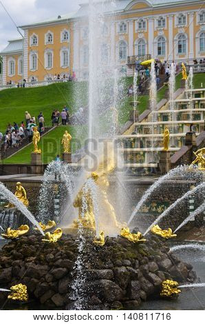 PETERHOF- JULY 07: Samson fountain of the Grand Cascade on July 07 2013 Saint-Petersburg Russia. The park ensemble of Peterhof belongs to the world heritage of UNESCO