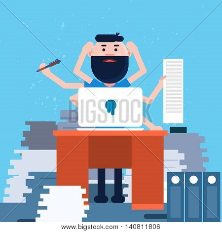 Busy Business Man With Many Hands Working Office Desktop Flat Vector Illustration