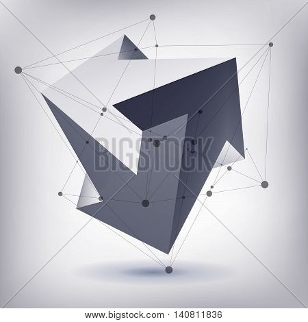 Impossible shape, unreal arrows, 3 arrows vector, crystal, 3D low polygon geometry, abstract vector object, mesh version, lines and points