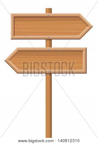 Wooden sign posts pointing in opposite directions.