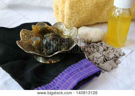 Nice background showing Moroccan bath products and towel