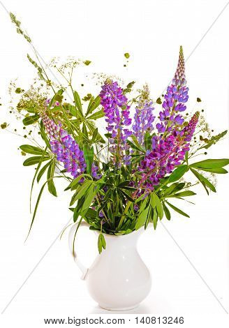 Bouquet of wild flowers on a white background. A violet lupine and green leaves in a white ceramic vase jug