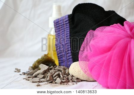 Glove and soap for Moroccan bath and spa