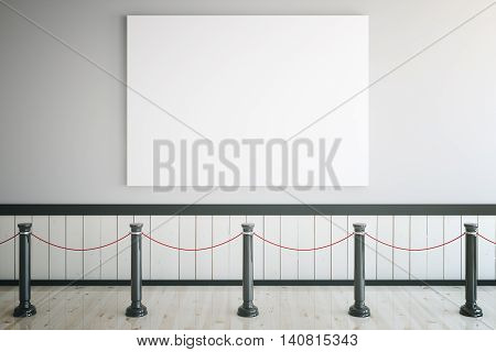 Museum interior with blank poster railings and light wooden floor. Mock up 3D Rendering