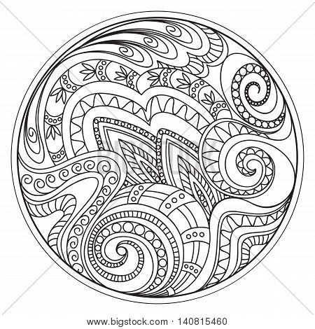 Hand drawn tangled tracery in the circle. Arabic Indian ottoman tribal motifs. Image for adult coloring book decorate plates porcelain ceramics crockery. eps 10