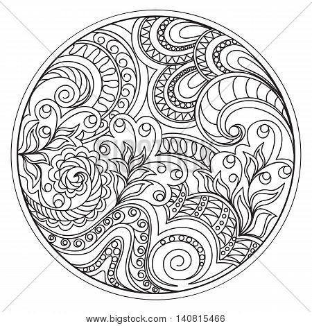 Hand drawn tangled flowers and tracery in the circle. Arabic Indian ottoman tribal motifs. Image for adult coloring booksdecorate plates porcelain ceramics crockery. eps 10