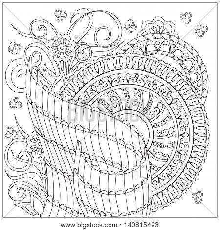 Hand drawn tangled mandalas and flowers. Islam Arabic Indian turkish pakistan chinese ottoman tribal motifs. Image for adult relaxation coloring book. eps 10
