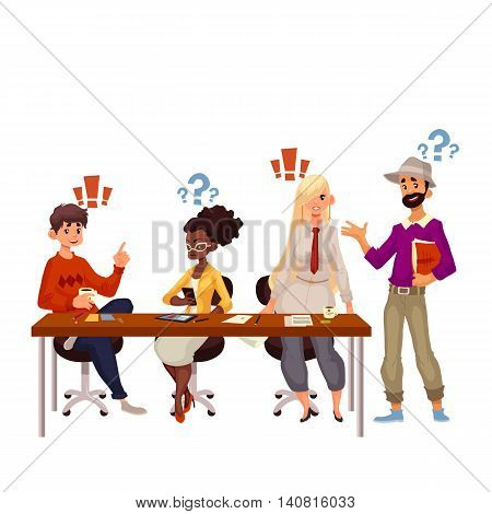 Young creative business people discussing ideas in office, sketch style vector illustration. Multiethnic group of young people working together at the table, office teamwork, creative process