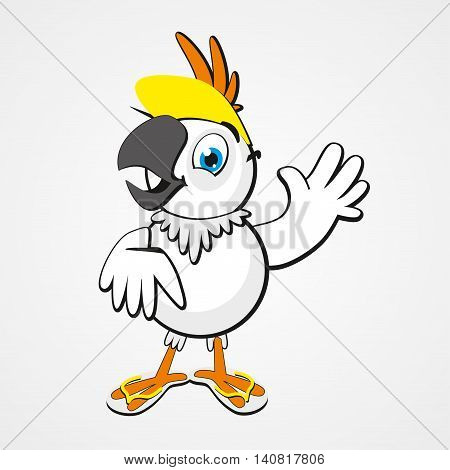 White funny cartoon hilarious parrot isolated on white background. Vector illustration. Eps 10.