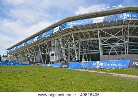 MONTREAL QUEBEC CANADA JULY 30 2016: Saputo Stadium is a soccer-specific stadium at Olympic Park home of the MLS Canadian professional soccer team Montreal's Impact