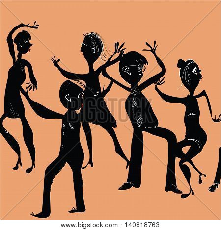 Illustration of funny people dancing on a dance floor