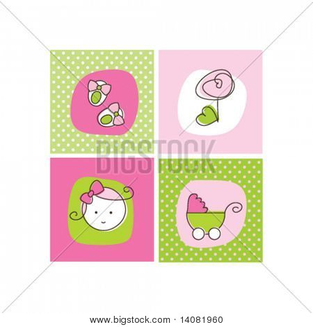 Baby girl arrival announcement cards